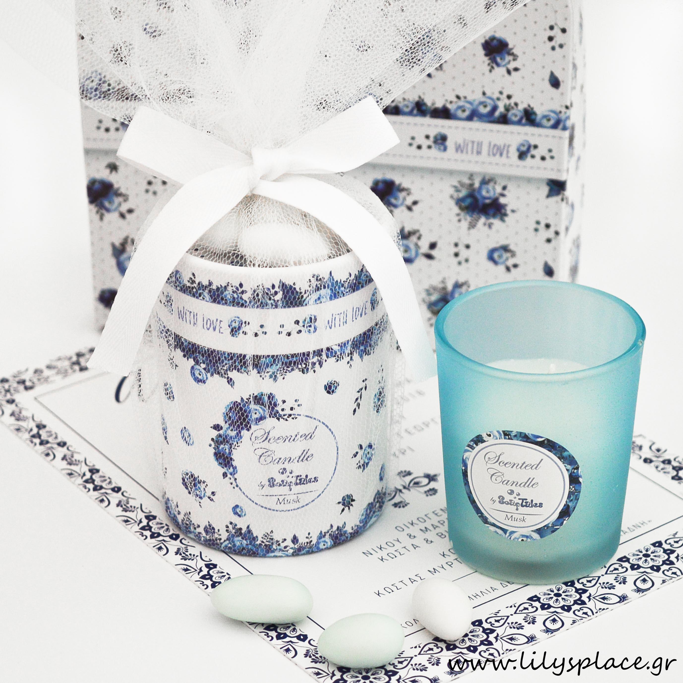 Κερί μπλε λουλούδια σε κουτί