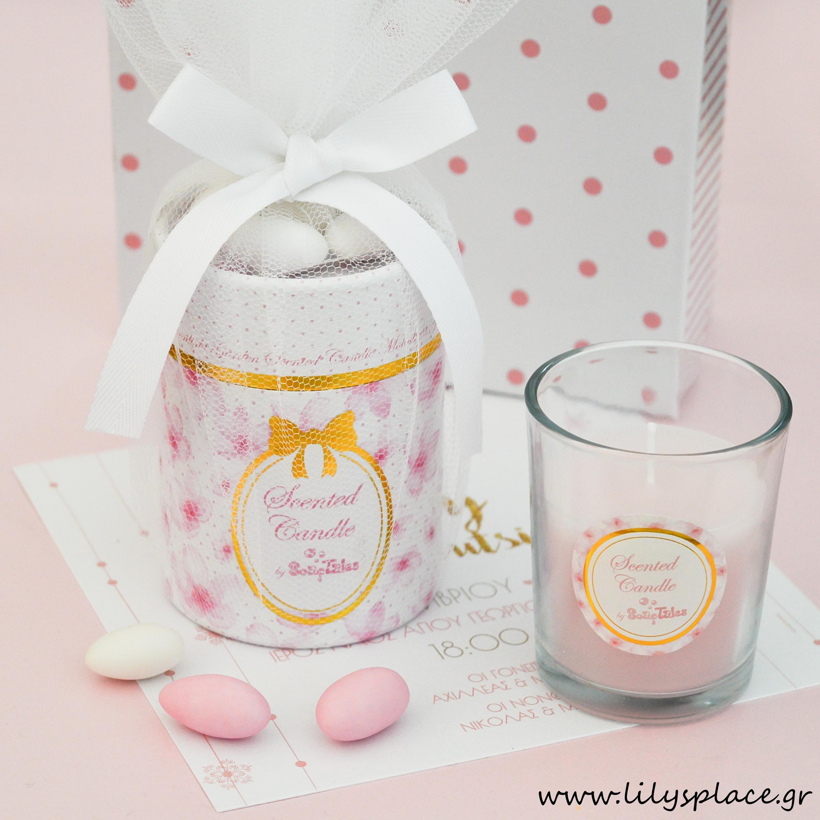 Κερί ροζ λουλούδια σε κουτί