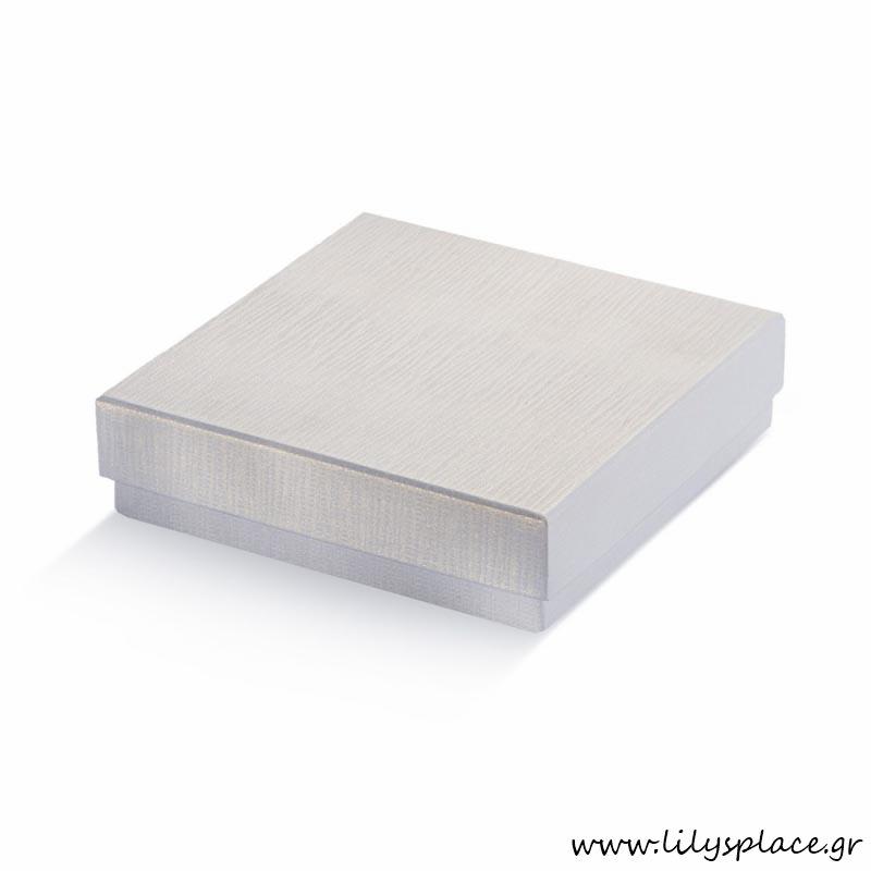 Κουτί χάρτινο τετράγωνο πλακέ ασημί