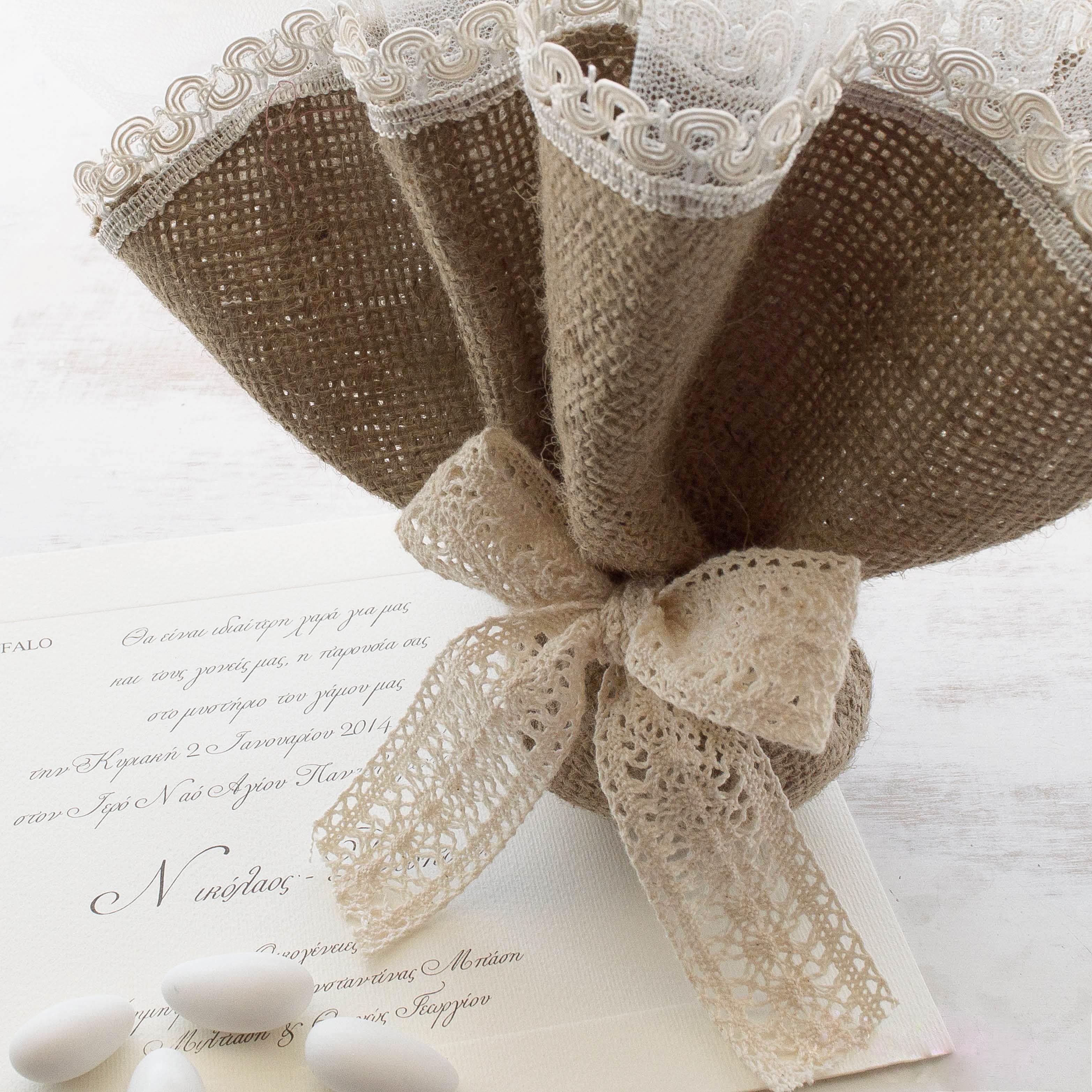 Μπομπονιέρα γάμου μαντήλι λινάτσα