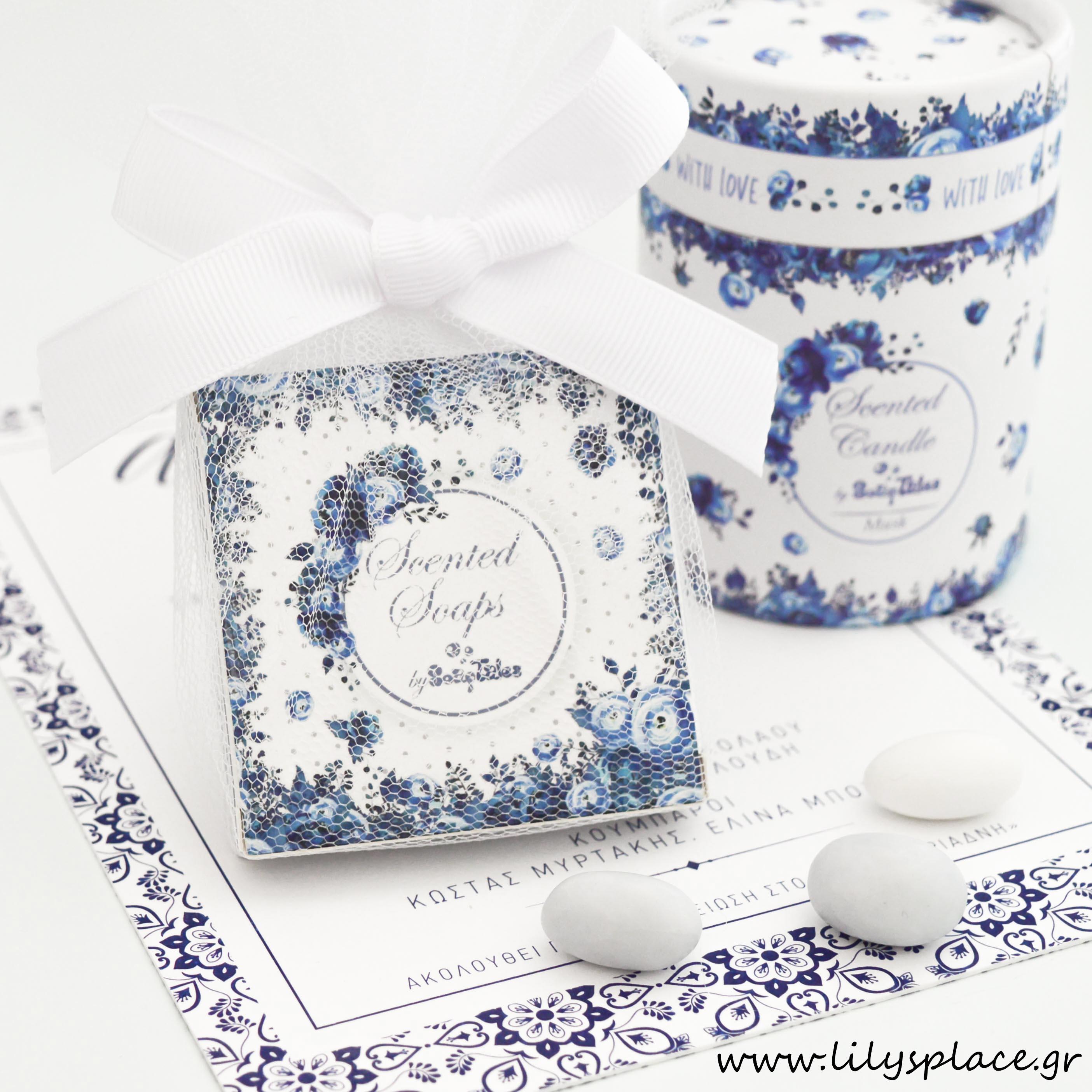Μπομπονιέρα σαπουνάκι σε κουτάκι μπλε λουλούδια