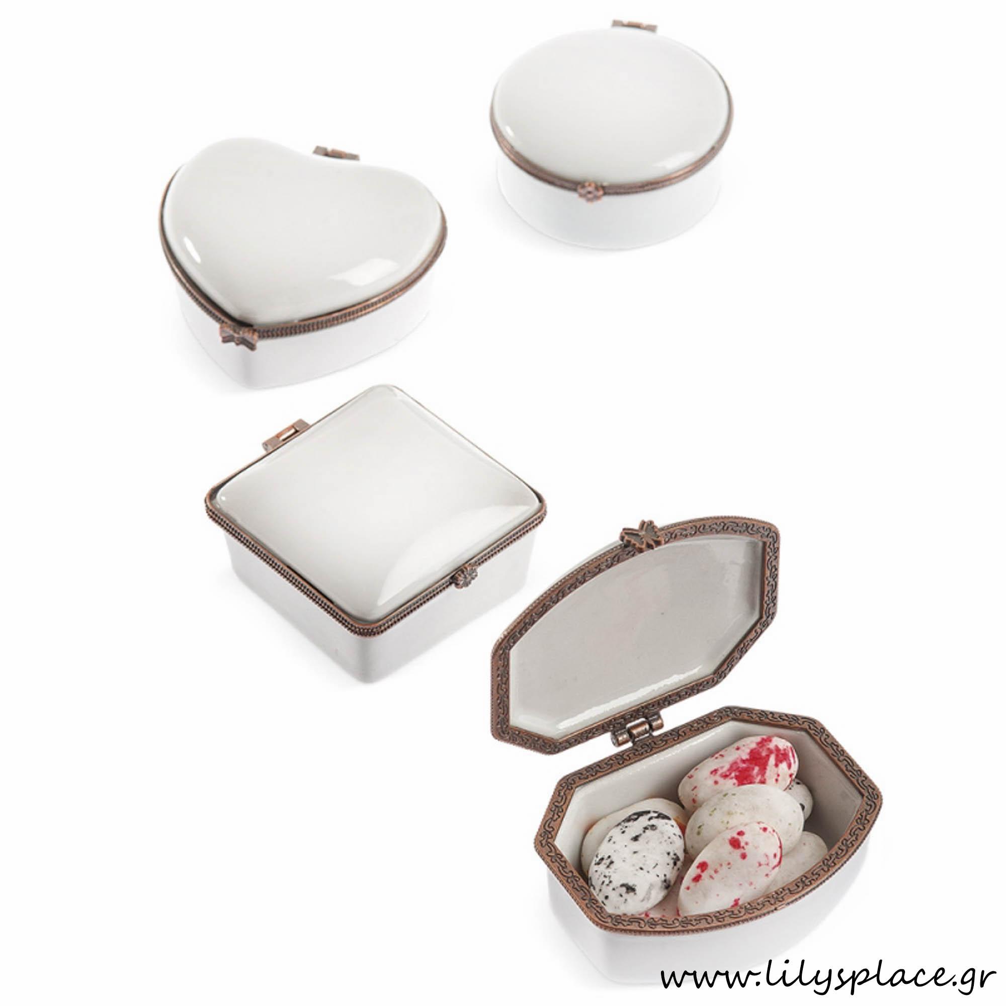 Μπομπονιέρα γάμου πορσελάνι κουτάκι μπρονζέ