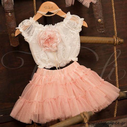 Ρούχο βάπτισης φούστα,μπλούζα με δαντέλα και τούλι Vinte Li.
