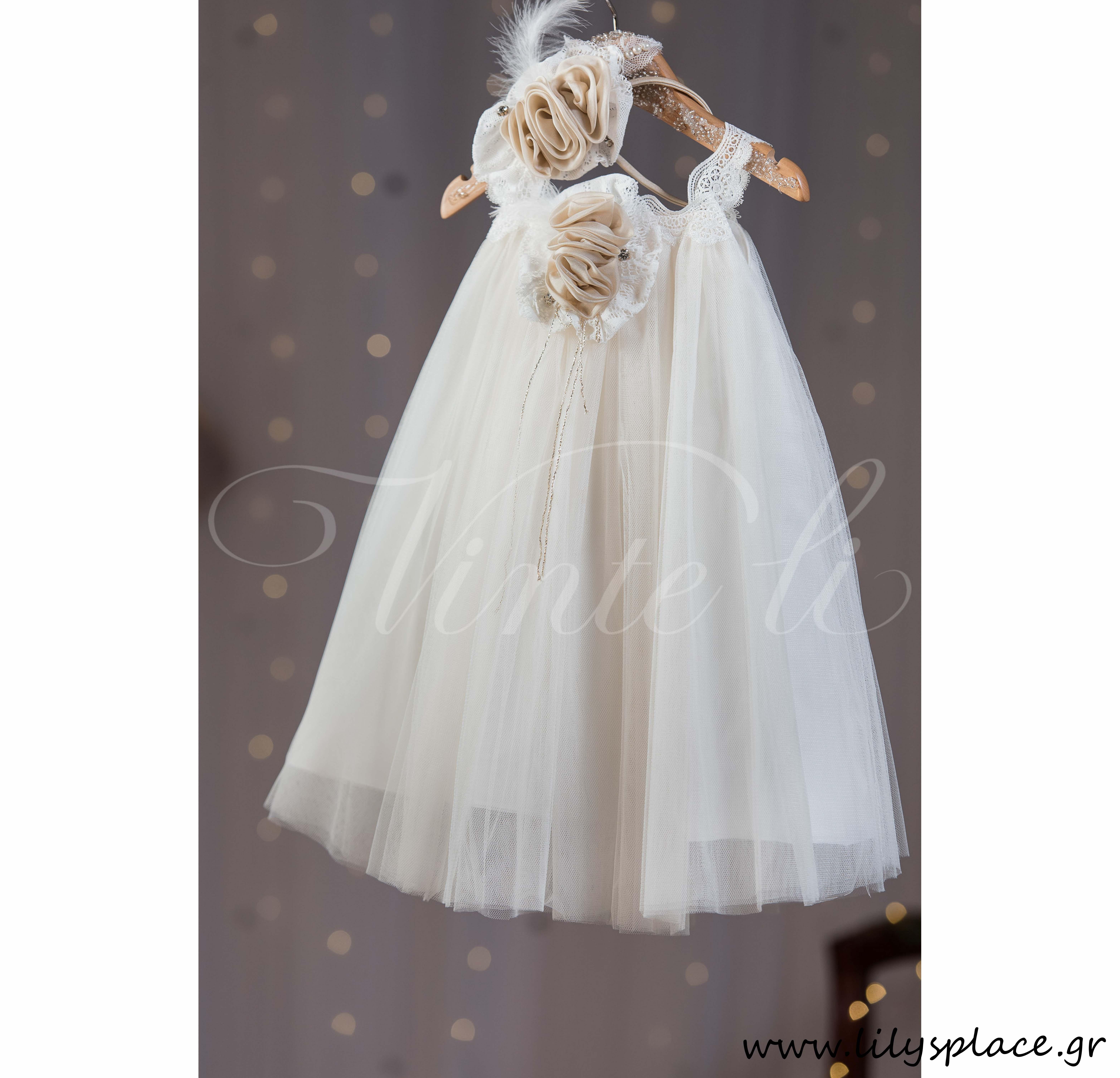 Φόρεμα βάπτισης με δαντέλα εκρού