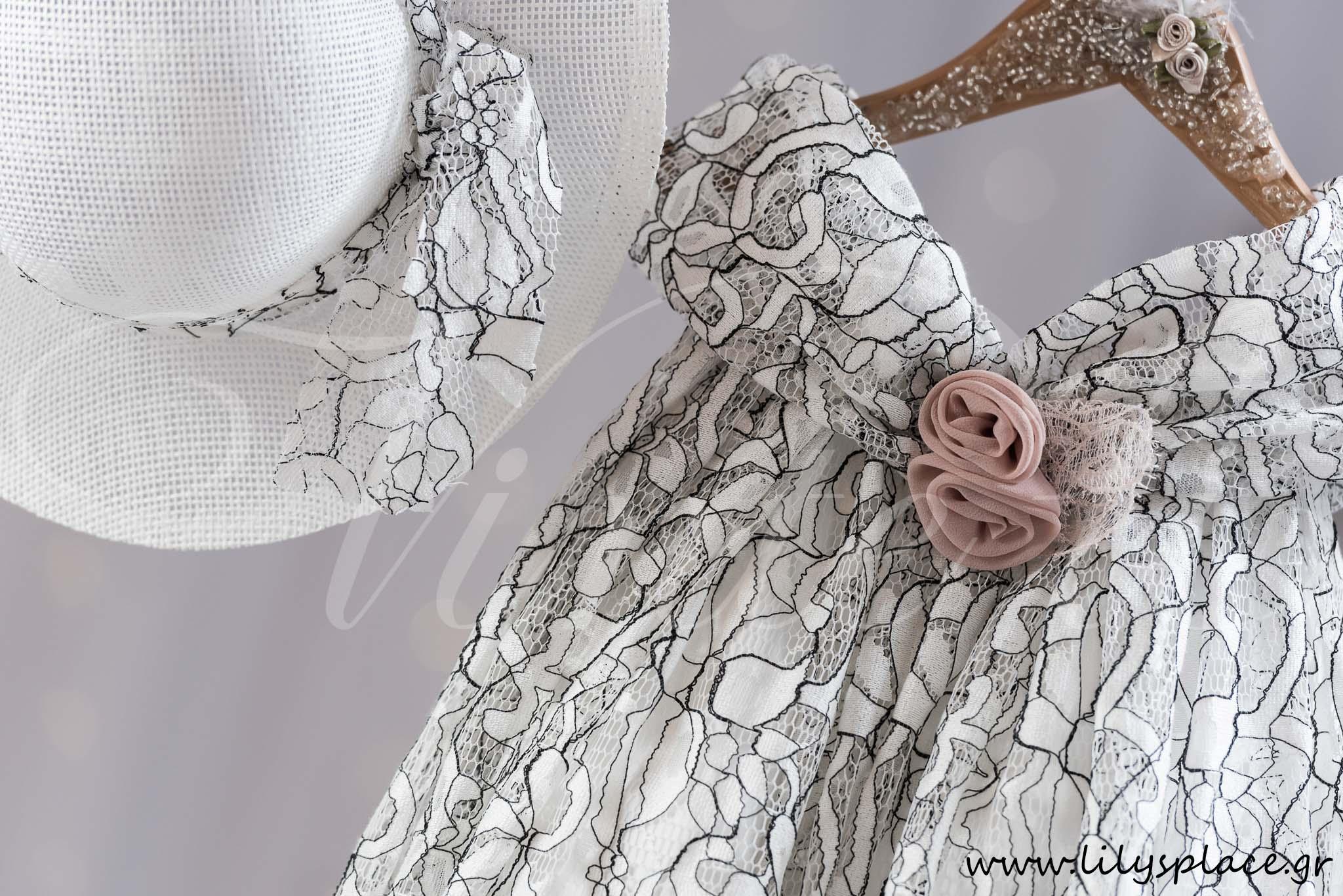 388675ae06a2 Ρούχο βάπτισης φόρεμα με δαντέλα κορδονέ