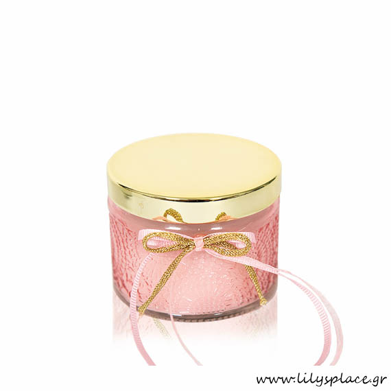 Kερί σε γυάλινο βαζάκι ροζ