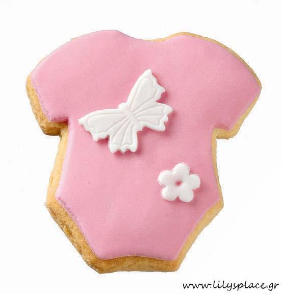 Μπισκότο βάπτισης body ροζ πεταλούδα