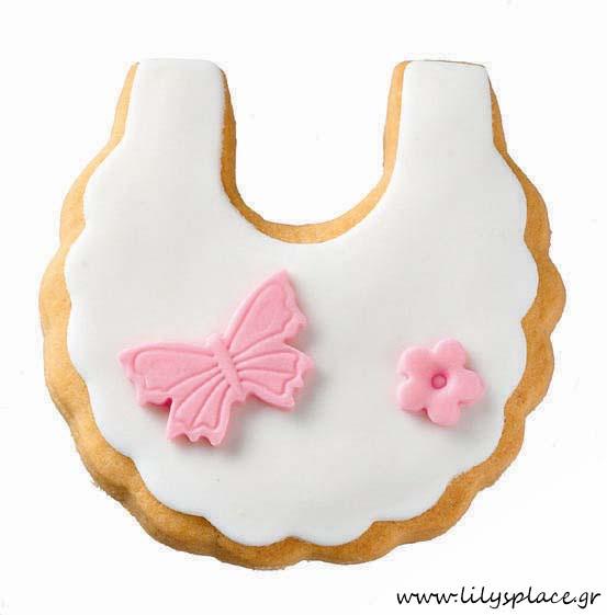 Μπισκότο βάπτισης ποδιά πεταλούδα