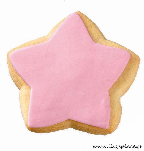 Μπισκότο βάπτισης αστέρι ρόζ