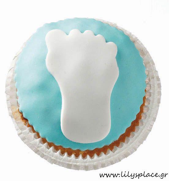 Cupcake σιέλ με πατουσάκι