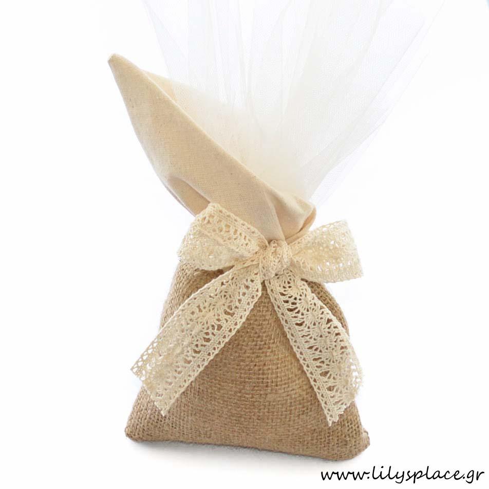 Μπομπονιέρα γάμου πουγκί λινάτσα και ύφασμα