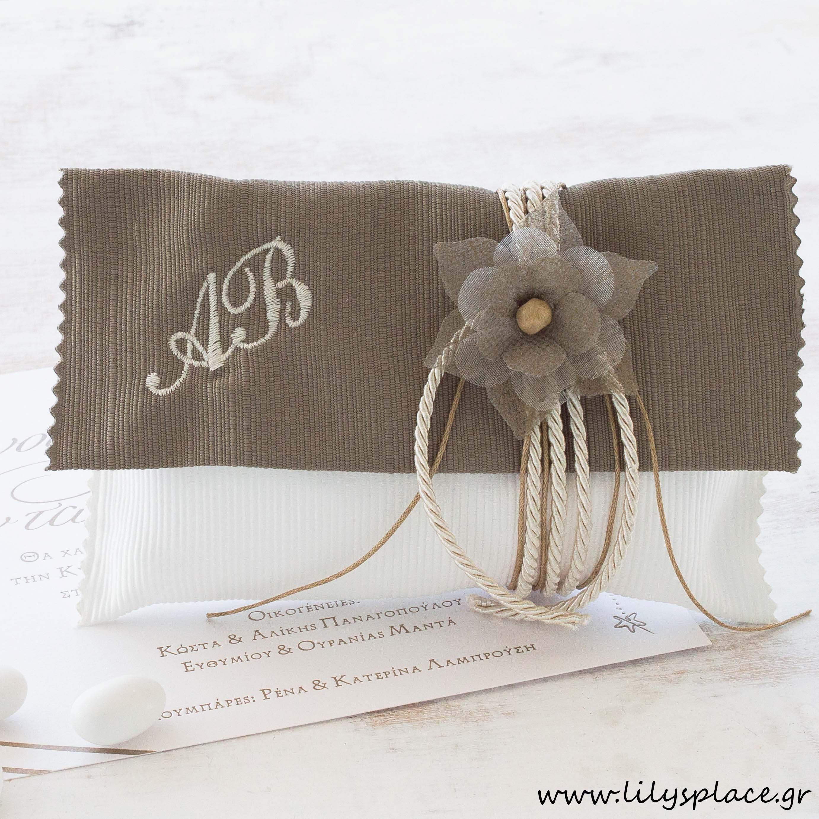 Μπομπονιέρα γάμου φάκελος με μονογράμματα