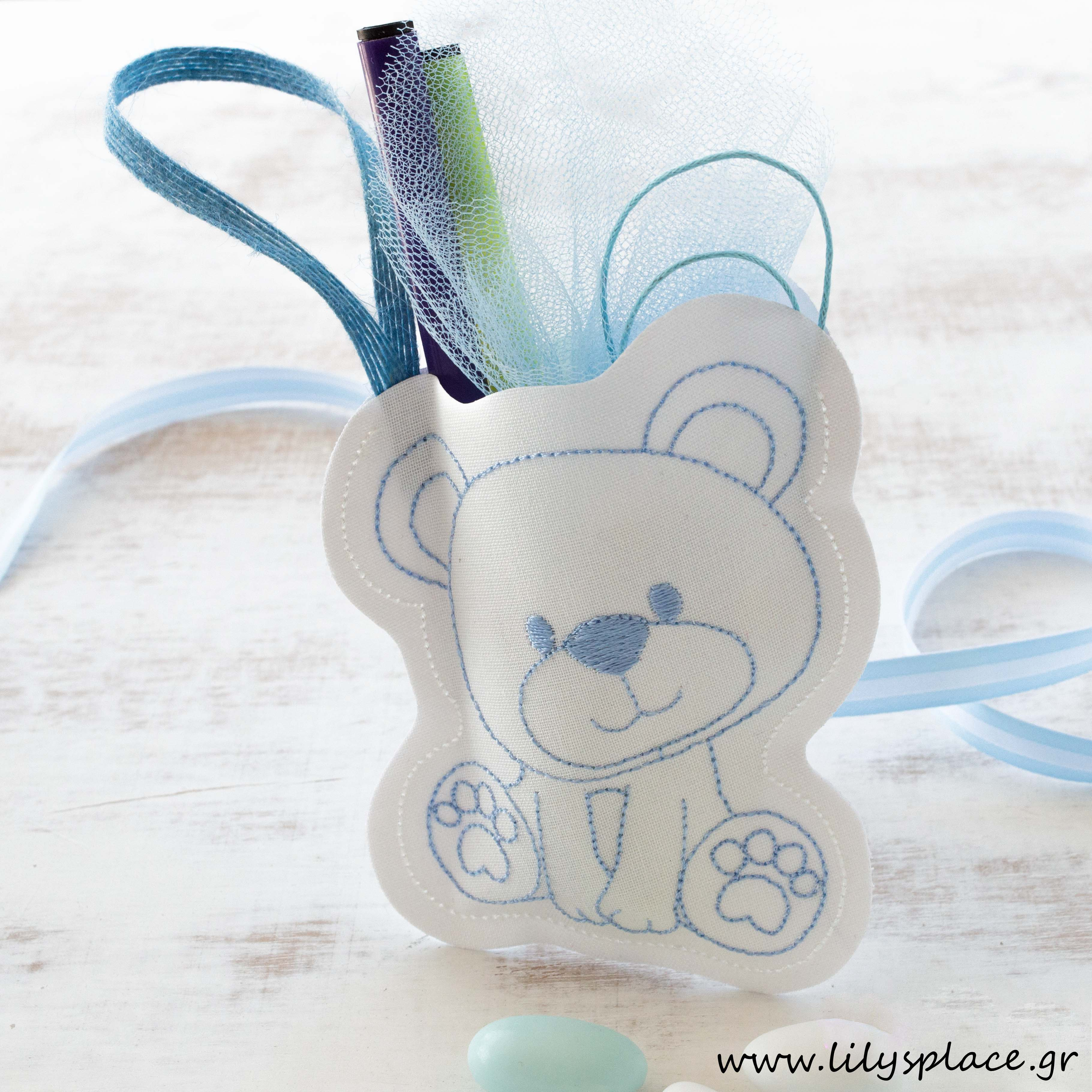 Μπομπονιέρα βάπτισης αρκουδάκι υφασμάτινο