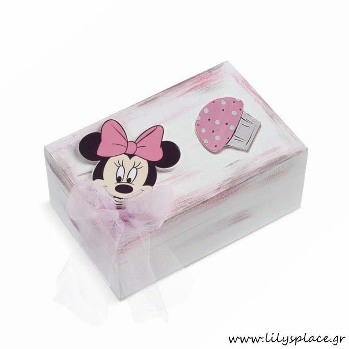 Κουτί μαρτυρικών βάπτισης με θέμα Minnie cupcakes