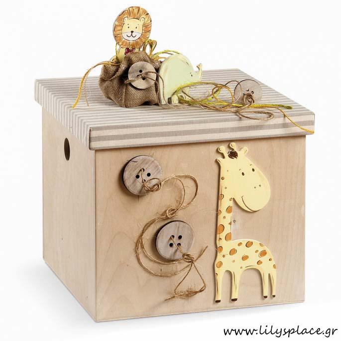 Κουτί βάπτισης με θέμα ζωάκια