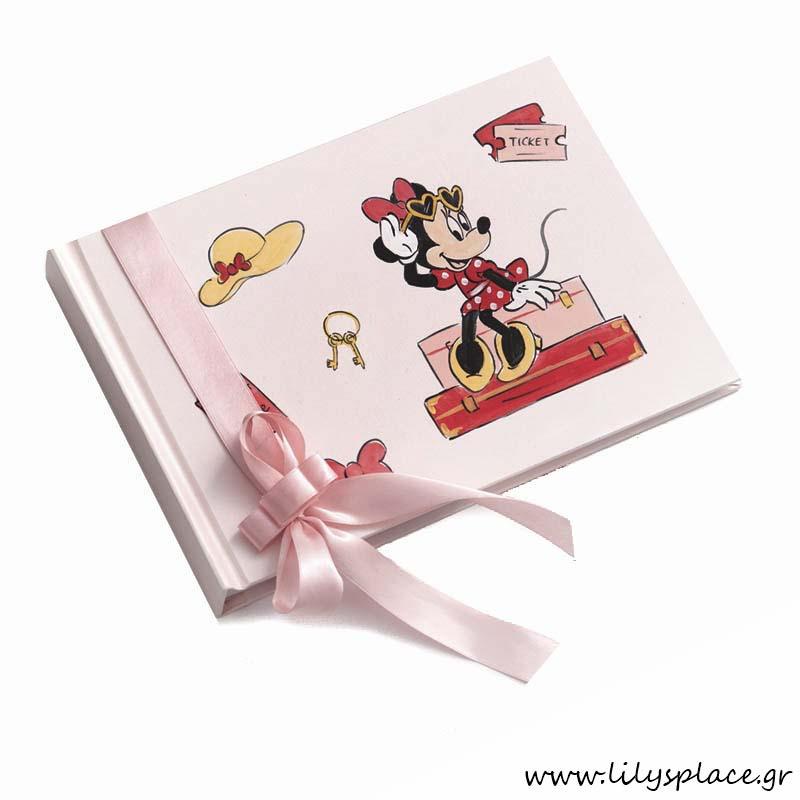 Βιβλίο ευχών βάπτισης με θέμα Minnie travel
