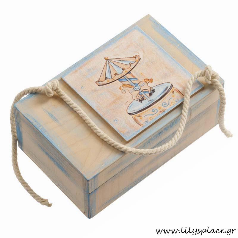 Κουτί μαρτυρικών βάπτισης με θέμα carousel