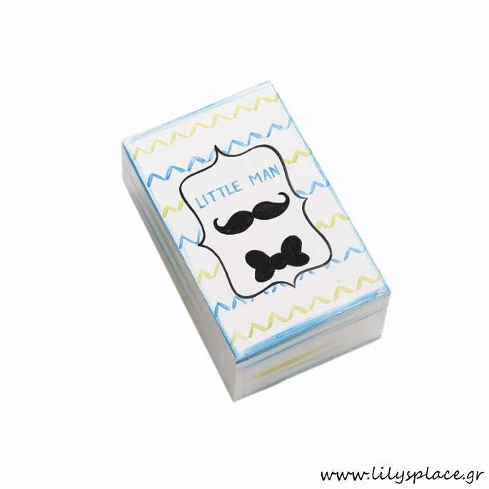 Κουτί μαρτυρικών βάπτισης με θέμα μουστάκι