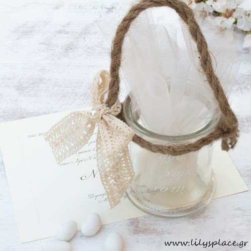 Μπομπονιέρα γάμου γυάλινο μπουκάλι
