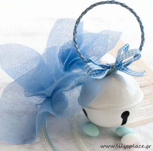 Μπομπονιέρα βάπτισης κουδουνίστρα κρεμαστή