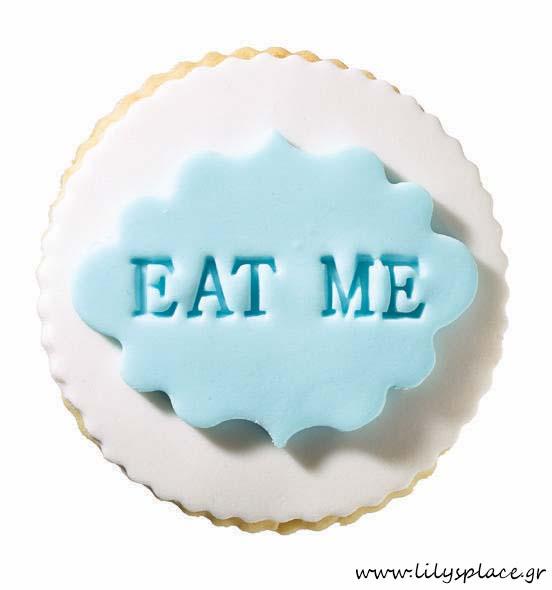 Μπισκότο βάπτισης eat me στρογγυλό αγόρι