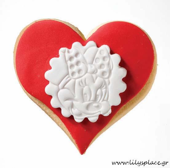 Μπισκότο βάπτισης μίνι μάους καρδιά