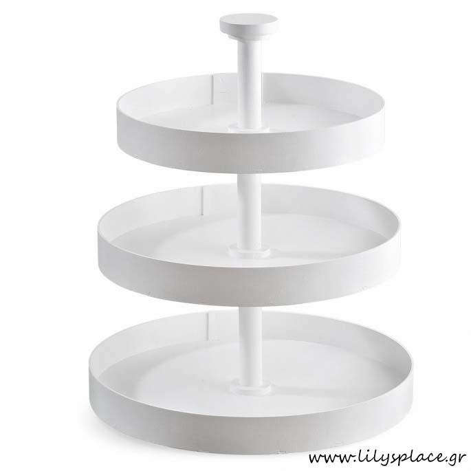 Ξύλινη λευκή τουρτιέρα στρογγυλή