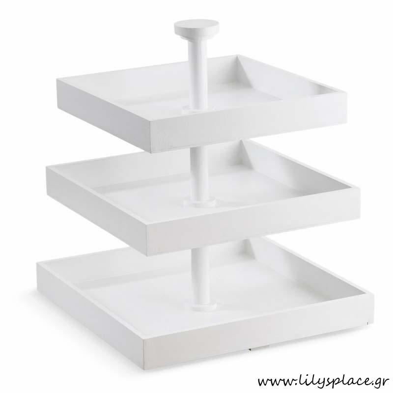 Ξύλινη λευκή τουρτιέρα τετράγωνη