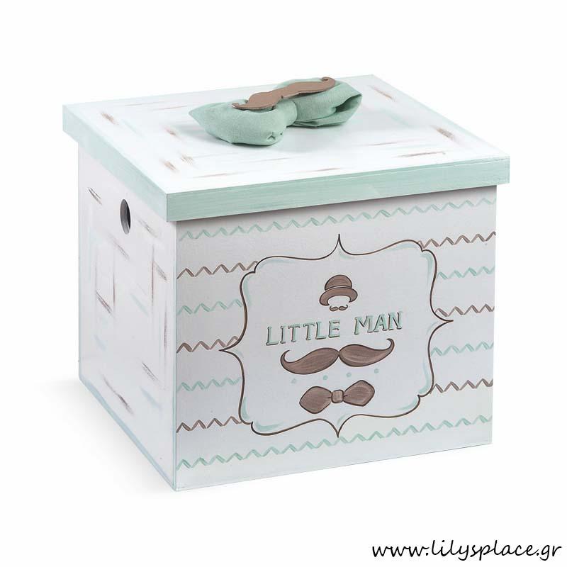 Κουτί βάπτισης με θέμα μουστάκι παπιγιόν