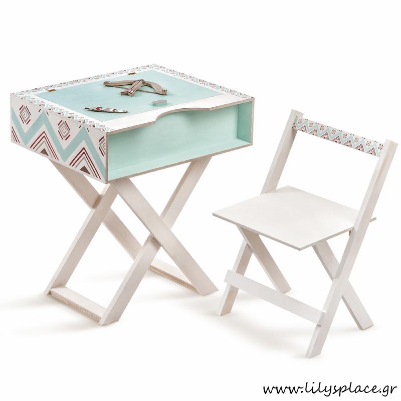 Κουτί βάπτισης γραφείο με καρέκλα θέμα ethnic