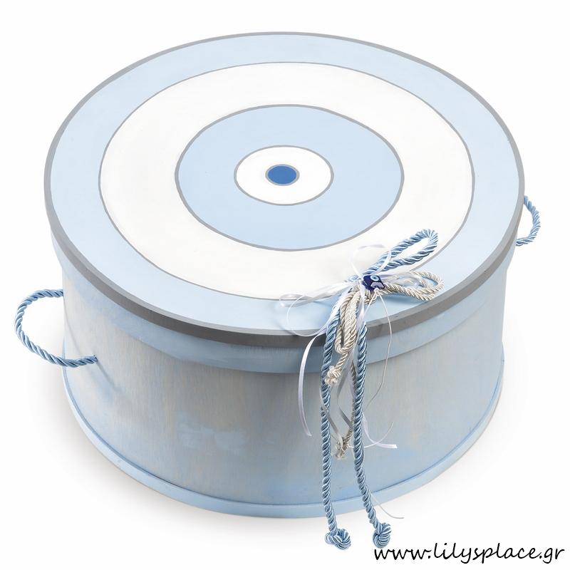 Κουτί βάπτισης με θέμα ματάκι σιέλ