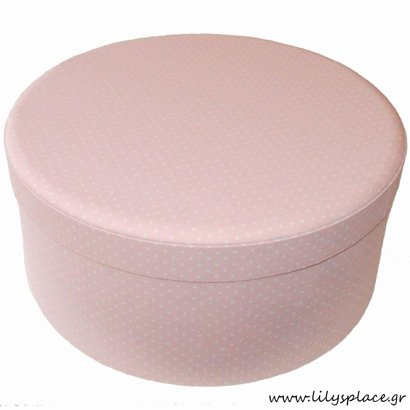 Κουτί βάπτισης υφασμάτινο στρογγυλό