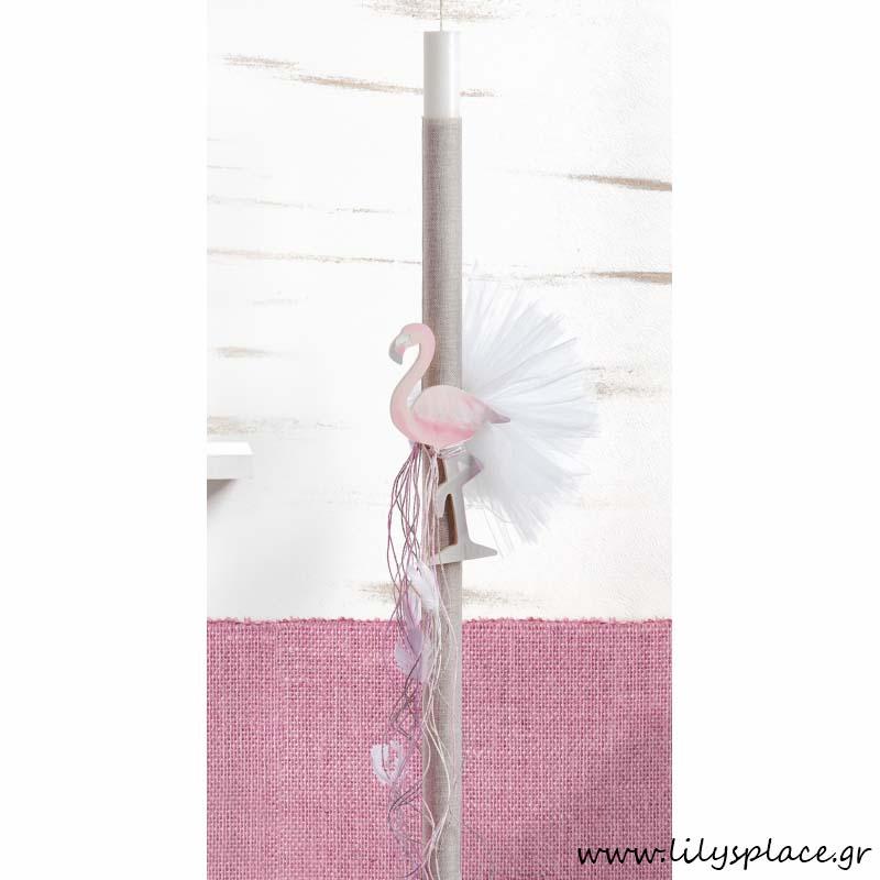 Λαμπάδα βάπτισης με θέμα Flamingo