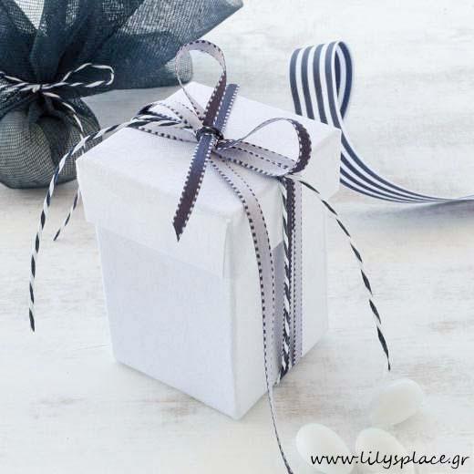 Μπομπονιέρα βάπτισης λινό υφασμάτινο κουτί