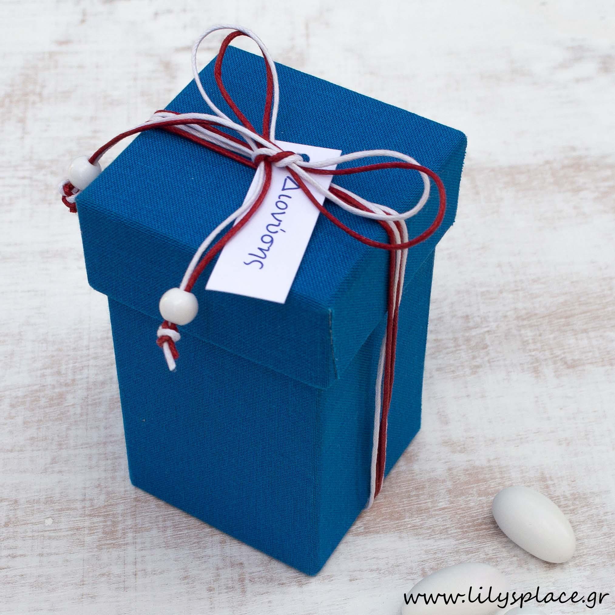 Μπομπονιέρα βάπτισης κουτί υφασμάτινο λινό