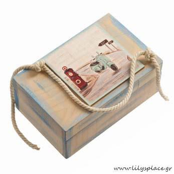 Κουτί μαρτυρικών βάπτισης με θέμα την βέσπα