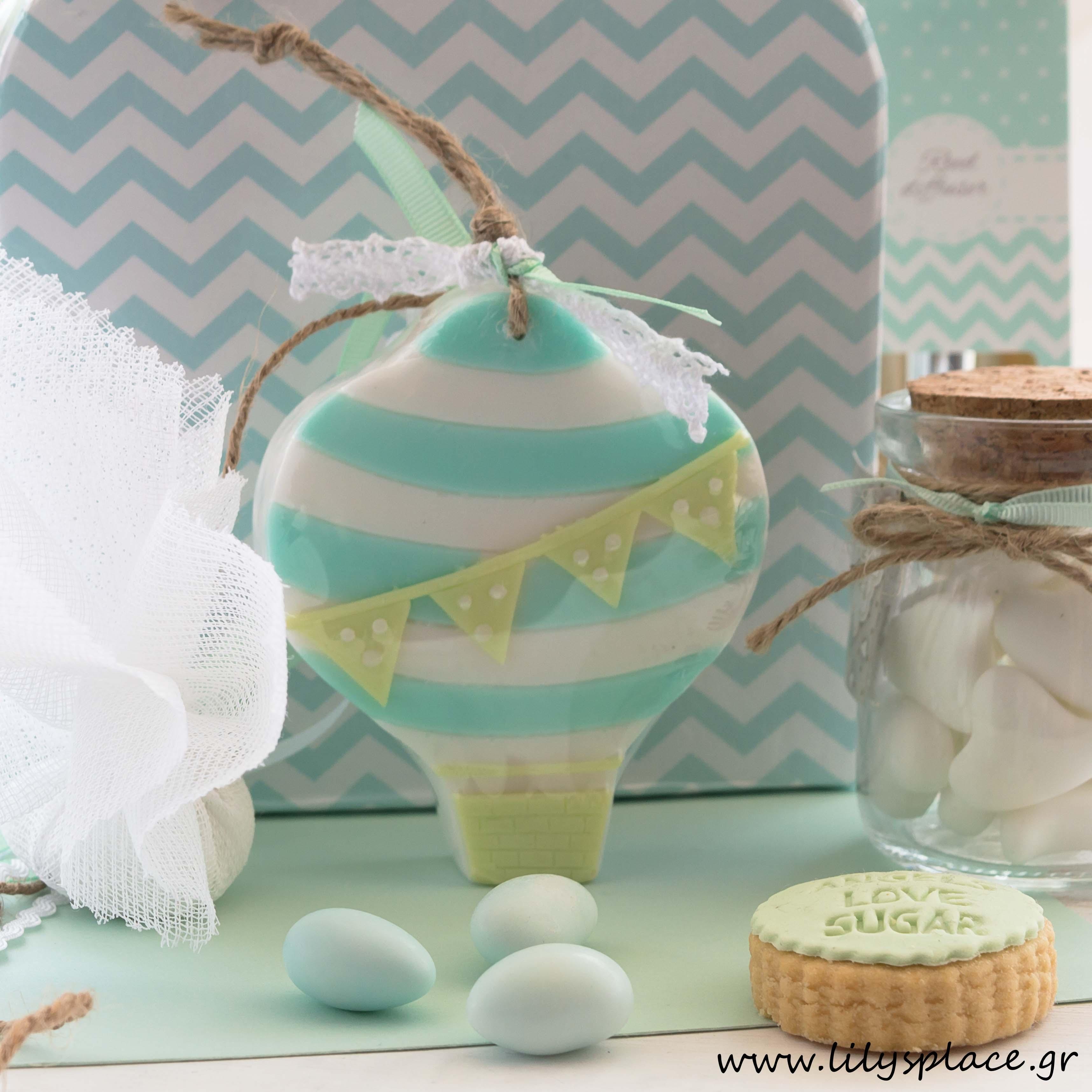 Μπομπονιέρα βάπτισης σαπουνάκι αερόστατο βεραμάν