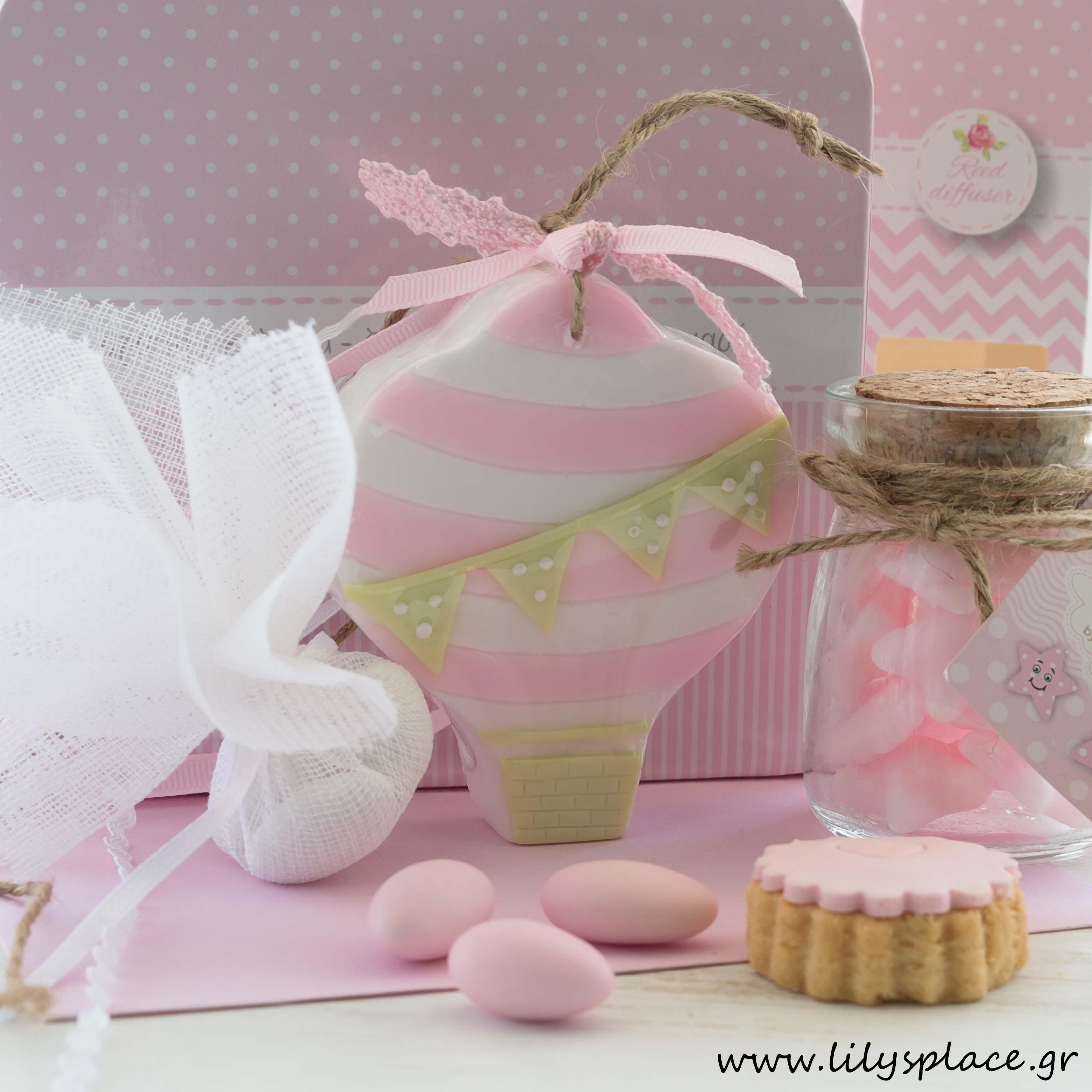 Μπομπονιέρα βάπτισης σαπουνάκι αερόστατο ροζ