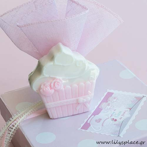 Μπομπονιέρα βάπτισης σαπουνάκι cupcake