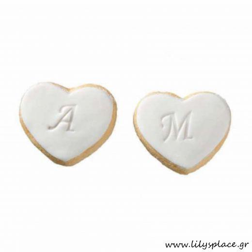 Μπισκότα γάμου μπουκίτσες κιλού καρδούλες
