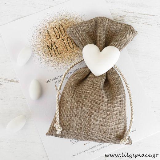 Μπομπονιέρα γάμου πουγκί με καρδιά