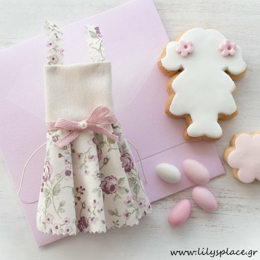 Μπομπονιέρα βάπτισης φόρεμα floral