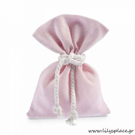 Μπομπονιέρα βάπτισης πουγκί λινό ροζ