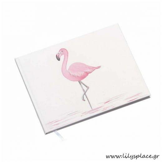 Βιβλίο ευχών βάπτισης με θέμα Flamingo