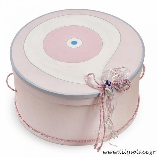 Κουτί βάπτισης με θέμα ματάκι ροζ