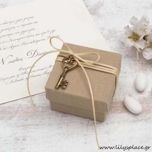 Μπομπονιέρα γάμου κουτί υφασμάτινο λινό