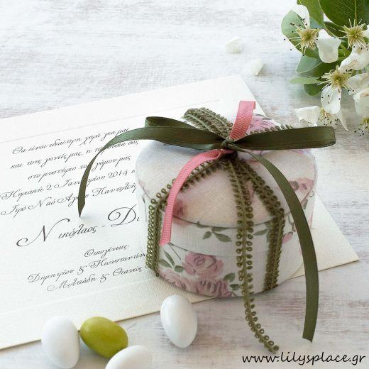 Μπομπονιέρα γάμου κουτί υφασμάτινο φλοράλ