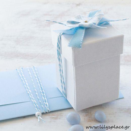 Μπομπονιέρα βάπτισης κουτί υφασμάτινο με ανεμόμυλο