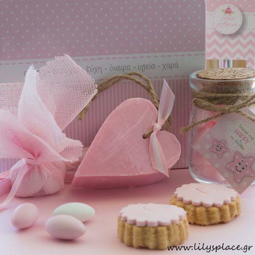 Μπομπονιέρα βάπτισης σαπουνάκι καρδιά ροζ