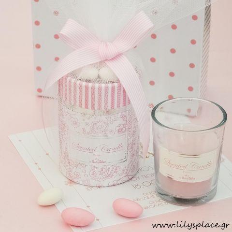 Κερί ροζ elegant σε κουτί